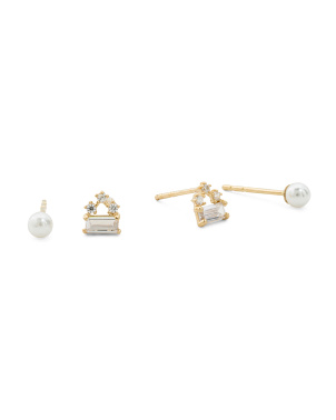 Set Of 2 14k Gold Cz Cluster Stud And Pearl Stud Earrings