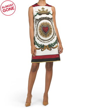 Made In Italy Sleeveless Crowne & Heart Printed Silk Dress