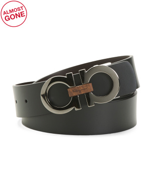 Men's Made In Italy Double Adjustable Leather Belt