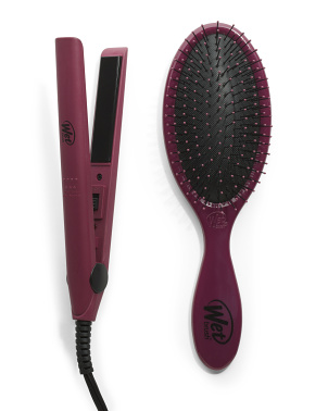 Mini Flat Iron And Hairbrush Combo