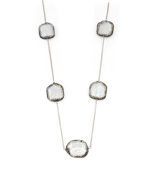 Sterling Silver Pearl And Crystal Station Necklace