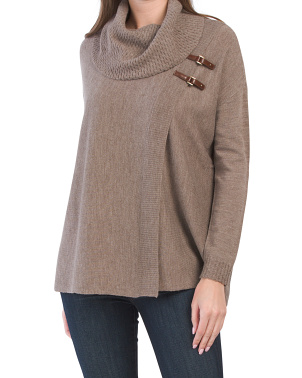 Extrafine Merino Wool Cowl Neck Double Buckle Sweater