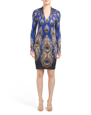 Long Sleeve Peacock Dress