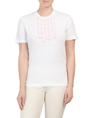 Made In Italy Ruffle Bib T-shirt