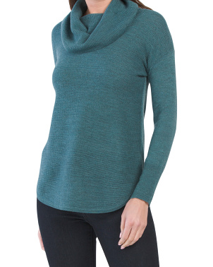 Textured Front Cowl Neck Merino Wool Sweater