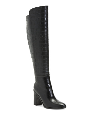 High Shaft Croco Leather Boots