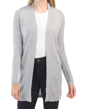 Extrafine Merino Wool Straight Front Cardigan With Rib Trim