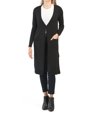 Extrafine Merino Wool One Button Duster Cardigan