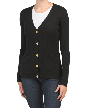 Extrafine Merino Wool Button Front Cardigan