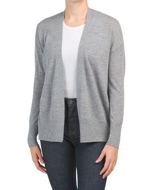 Extrafine Merino Wool Side  Button Placket Cardigan