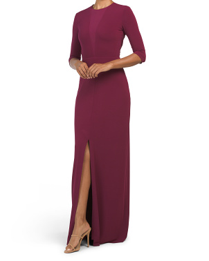 Three-quarter Sleeve Stretch Woven Gown