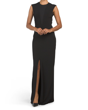 Solid Stretch Woven Slit Front Gown