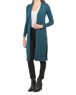 Extrafine Merino Wool Straight Front Cardigan With Side Slits