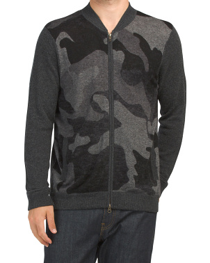 Camo Inked Wool Blend Bomber Sweater