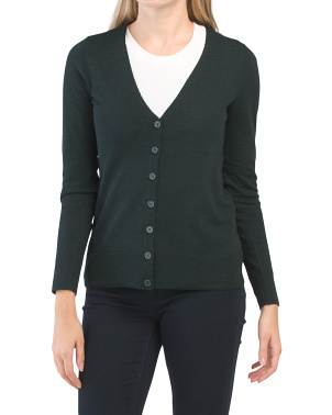 Extrafine Merino Wool V-neck Cardigan
