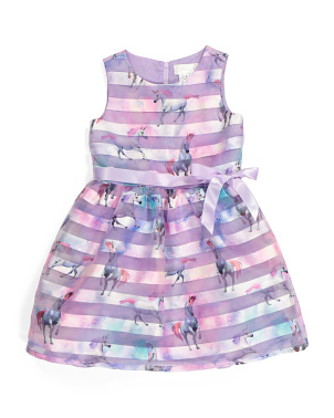 Little Girls Unicorn Shadow Stripe Dress