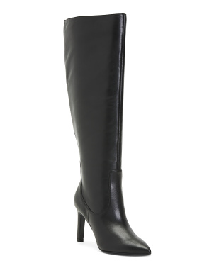 High Shaft Leather Stiletto Boots