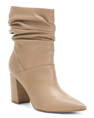 Pointy Toe Slouchy Leather Booties