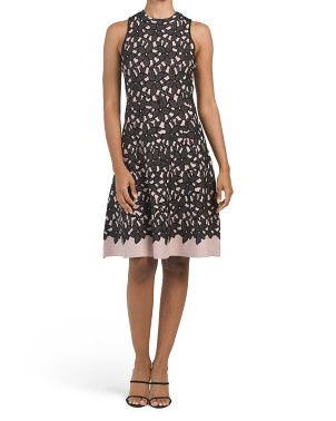 Floral Mesh Jacquard Flow Dress