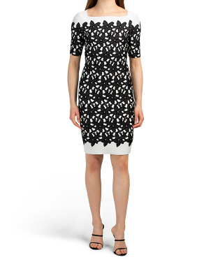 Floral Mesh Jacquard Sheath Dress