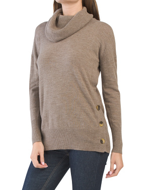 Extrafine Merino Wool Cowl Neck Tunic Sweater