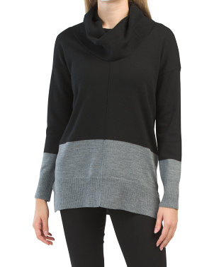 Color Block Extrafine Merino Wool Tunic