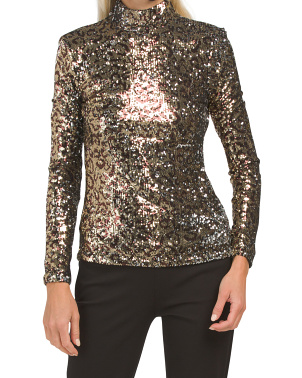 Sequin Turtleneck Top