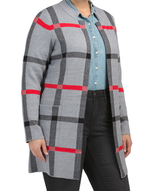 Plus Plaid Open Front Coatigan