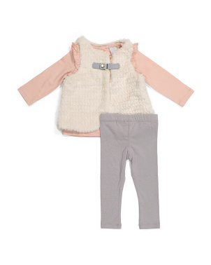 Newborn Girls 3pc Vest And Pants Set