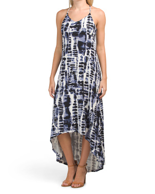 Strappy Hi Low Print Maxi Dress