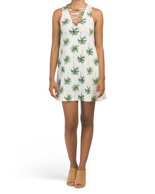 Juniors Made In Usa Palm Print Dress