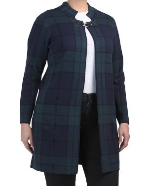 Plus Plaid Cardigan With Buckle Closure
