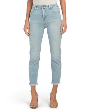 High Waist Starr Jeans With Fray Hem