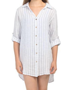 Made In Italy Linen Long Sleeve Stripe Beach Shirt
