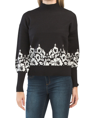 Double Knit Scroll Floral Pullover Sweater