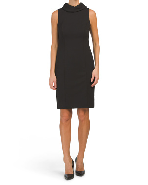 Petite Neck Tie Sleeveless Sheath Dress