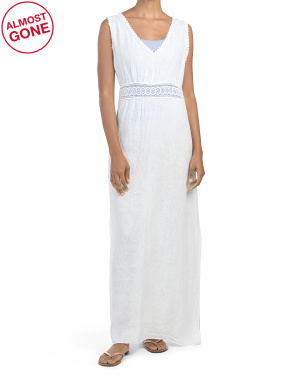 Made In Italy Crochet Cover-up Linen Maxi Dress