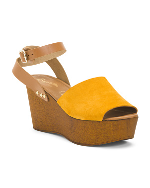 Made In Italy Ankle Strap Wood Suede Heels