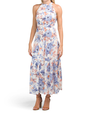 Juniors Floral Print Tiered Maxi Dress