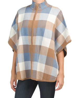 Double Knit Buffalo Zip Front Poncho