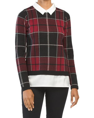 Double Knit Plaid Twofer Sweater