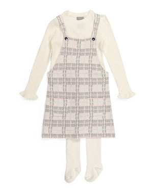 Toddler Girls Plaid Jumper Sweater Set With Tights