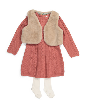 Toddler Girls 2pc Faux Fur Vest Sweater Dress Set With Tights