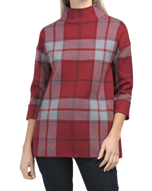 Double Knit Plaid Sweater Tunic