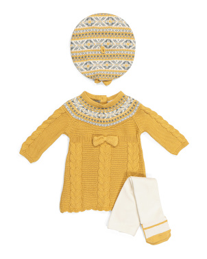 Newborn Girls Jacquard Sweater Dress With Beret