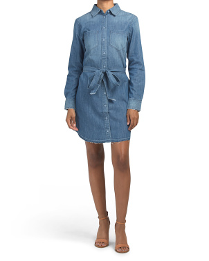 Hartley Denim Dress With Raw Cut Hem