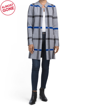 Double Knit Notch Collar Plaid Cardigan