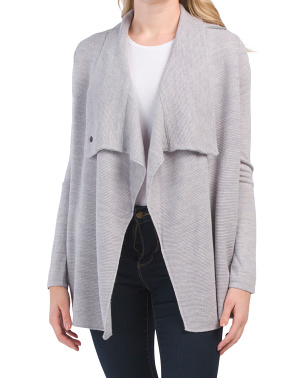Merino Wool Blend Textured Cardigan With Bar Closure