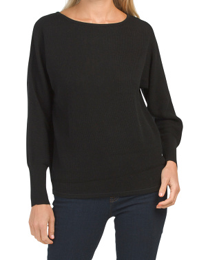 Merino Wool Blend Dolman Textured Sweater