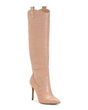 Leather Croco Knee High Boots